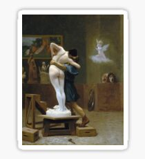 Jean-Leon Gerome - Pygmalion And Galatea. Lovers portrait: sensual woman, woman and man, kiss, kissing lovers, love relations, lovely couple, family, valentine's day, sexy, romance, female and male Sticker