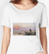 Jean-Leon Gerome - The Two Majesties. Sea landscape: sea view, mountains, calm sea, king of beasts, coast seaside, sunset, marin, seascape, sun clouds, nautical panorama, lion Women's Relaxed Fit T-Shirt