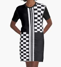 Stylish Black and white check and stripes Graphic T-Shirt Dress
