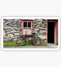rural old stone cottage house bicycle countryside ireland Sticker
