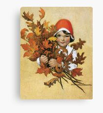 Jessie Willcox Smith - Girl With Fall Leaves. Child portrait: cute baby, kid, children, pretty angel, child, kids, lovely family, boys and girls, boy and girl, mom mum mammy mam, childhood Canvas Print
