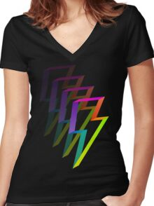 Neon Flash Women's Fitted V-Neck T-Shirt