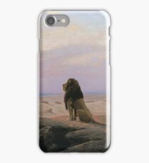 Jean-Leon Gerome - The Two Majesties. Sea landscape: sea view, mountains, calm sea, king of beasts, coast seaside, sunset, marin, seascape, sun clouds, nautical panorama, lion iPhone Case/Skin