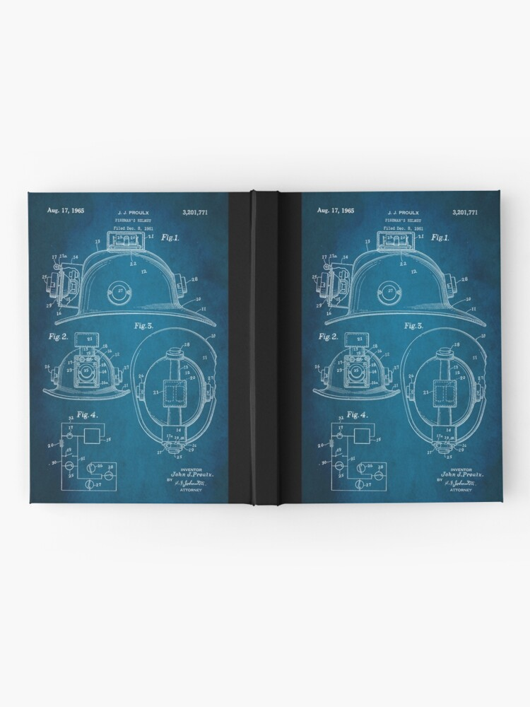Alternate view of Firefighter Helmet Patent 1965 Hardcover Journal