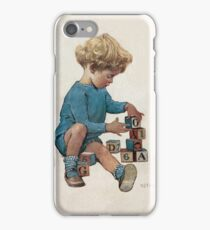Jessie Willcox Smith - Little Boy Playing With Blocks. Child portrait: cute baby, kid, children, pretty angel, child, kids, lovely family, boys and girls, boy and girl, mom mum mammy mam, childhood iPhone Case/Skin