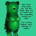 Green Sparkle Anxiety Encouragement Bear by thelatestkate