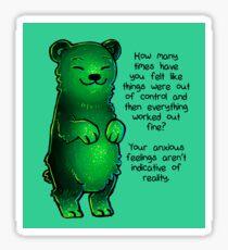 Green Sparkle Anxiety Encouragement Bear Sticker