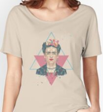 Pastel Frida - Geometric Portrait with Triangles Women's Relaxed Fit T-Shirt