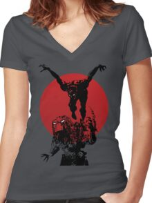 Blood Moon Women's Fitted V-Neck T-Shirt