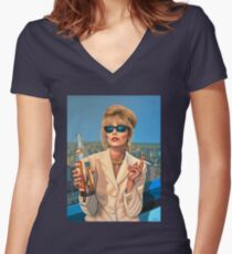 Joanna Lumley as Patsy Stone painting Women's Fitted V-Neck T-Shirt
