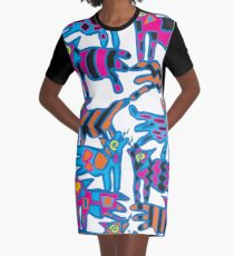 Colorful Abstract Coyote Art Duvet Cover Graphic T-Shirt Dress