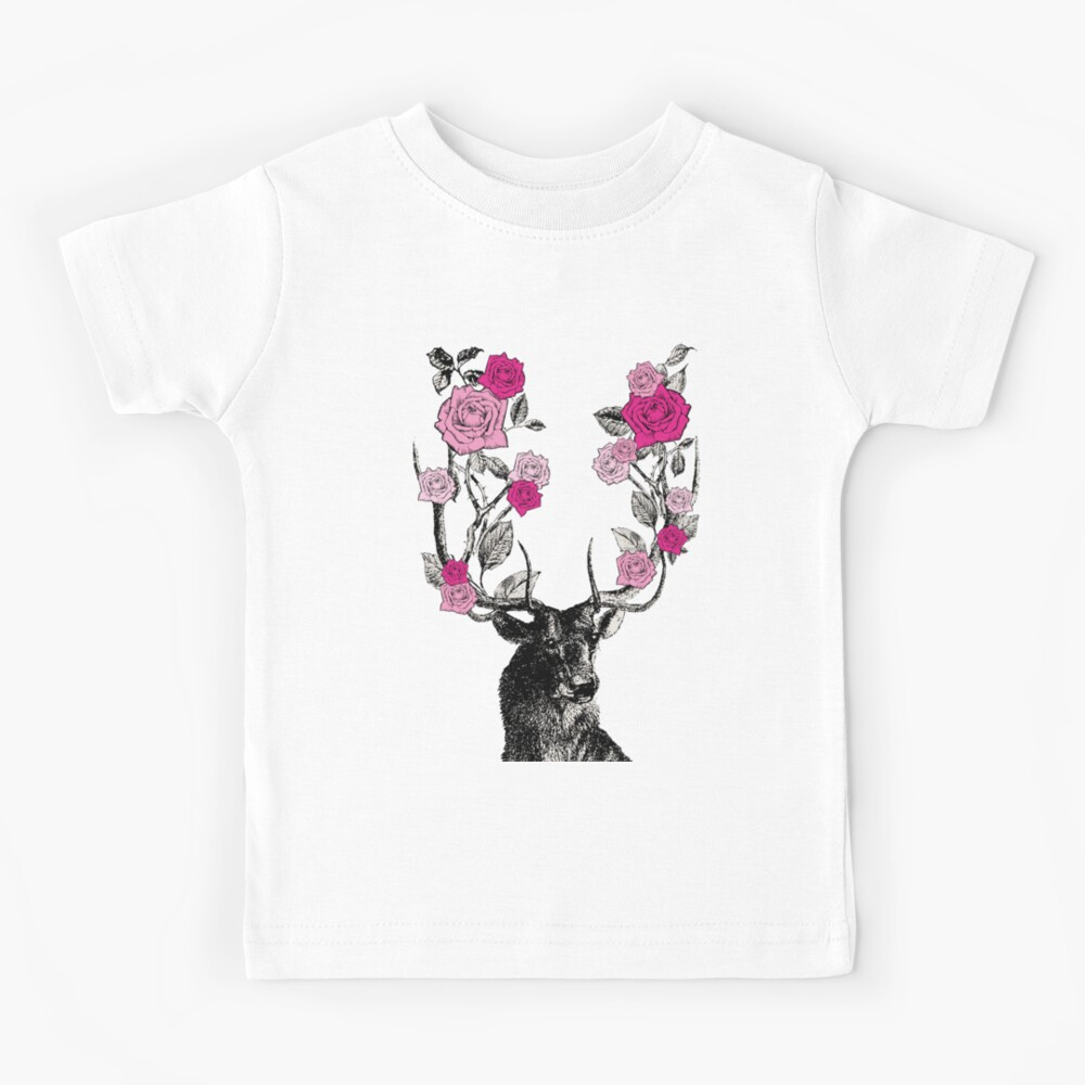The Stag and Roses   Deer and Roses   Stag and Flowers   Deer and Flowers   Vintage Stag   Antlers   Woodland   Highland   Pink and Beige    Kids T-Shirt