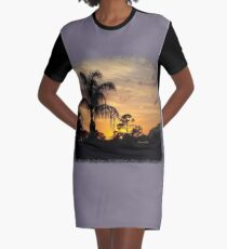 Fast Moving Clouds at Sunset Graphic T-Shirt Dress