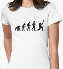 Evolution Of Man and Cricket Women's Fitted T-Shirt