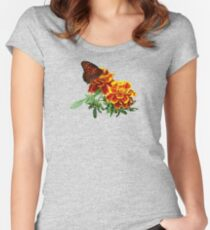 Queen Butterfly on Marigold Women's Fitted Scoop T-Shirt