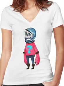 Space Kid Women's Fitted V-Neck T-Shirt