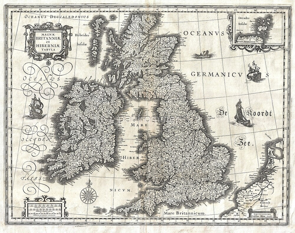 1631 Map of the British Isles by Joan Blaeu by paulrommer