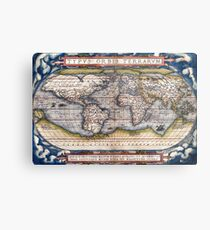 1564 World Map by Ortelius Metal Print