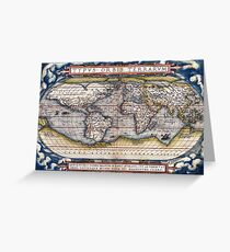 1564 World Map by Ortelius Greeting Card