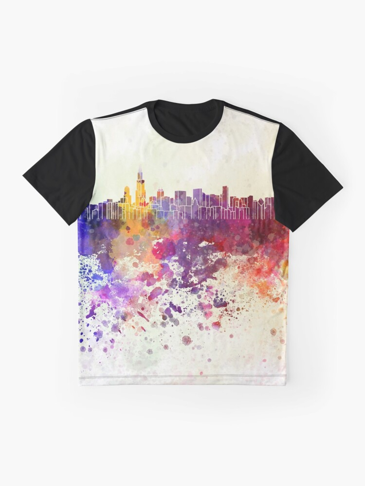 Alternative Ansicht von Chicago-Skyline im Aquarellhintergrund Grafik T-Shirt
