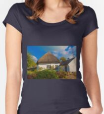 Ireland. Adare. Thatched Cottage. Women's Fitted Scoop T-Shirt