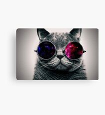 Cat With Glasses Space  Canvas Print