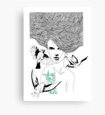 Birdie - Fineliner Illustration Canvas Print