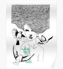 Birdie - Fineliner Illustration Poster