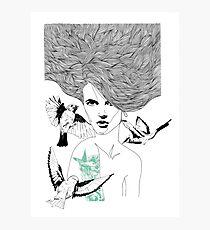 Birdie - Fineliner Illustration Photographic Print