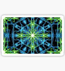 Galactic flame art, cross, green, blue, mandala, cosmic, space, neon, galaxy, nebula, fractal, artwork,  Sticker