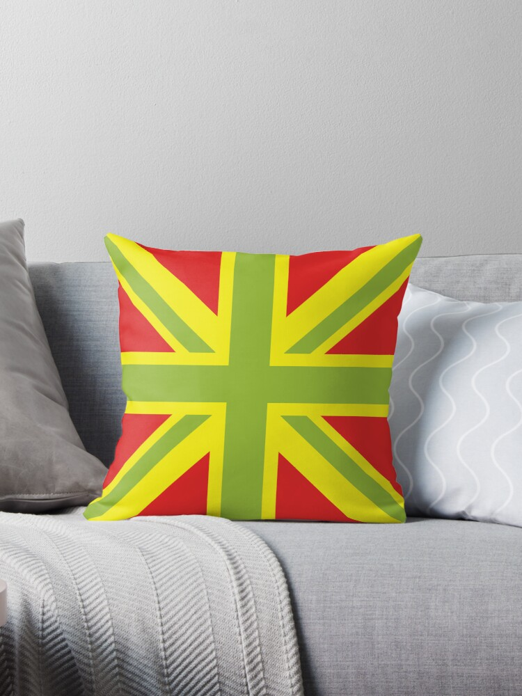 Union Jack Pop Art Green Yellow Red Throw Pillows by sher00