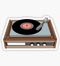 classic vinyl record player Sticker