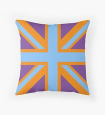 Union Jack Pop Art (Blue, Orange & Purple) Throw Pillow