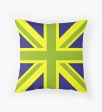 Union Jack Pop Art (Green, Yellow & Blue) Throw Pillow