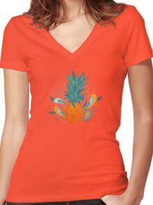 Happy Pineapple Women's Fitted V-Neck T-Shirt