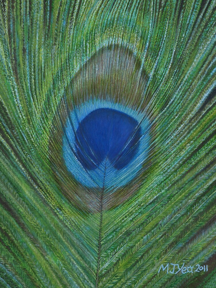Acrylic painting, Peacock Feather, nature art by Marion Yeo
