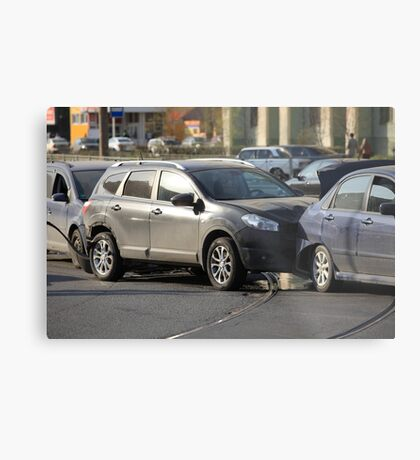 accident involving three  cars  Metal Print