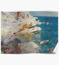 Joaquin Sorolla Y Bastida - Rocks At Javea. The White Boat 1905. Mountains landscape: mountains, rocks, rocky nature, sky and clouds, Sea views, peak, forest, rustic, hill, sea, hillside Poster