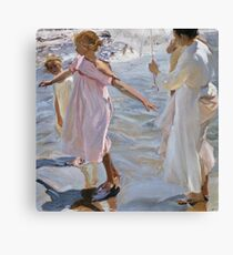 Joaquin Sorolla Y Bastida - Time For A Bathe, Valencia 1909. Mother with kid portrait: cute girl, mother and daughter, sea views, child, beautiful dress, lovely family, mothers day, memory,baby Canvas Print