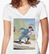 John R. Neill - The Scarecrow Swinging A Croquet Mallet. Child portrait: cute baby, kid, children, pretty angel, child, kids, lovely family, boys and girls, boy and girl, mom mum mammy mam, childhood Women's Fitted V-Neck T-Shirt