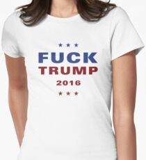 FUCK TRUMP Logo - Stars Women's Fitted T-Shirt