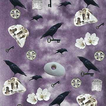 Magick ravens and witchcraft on purple by chihuahuashower