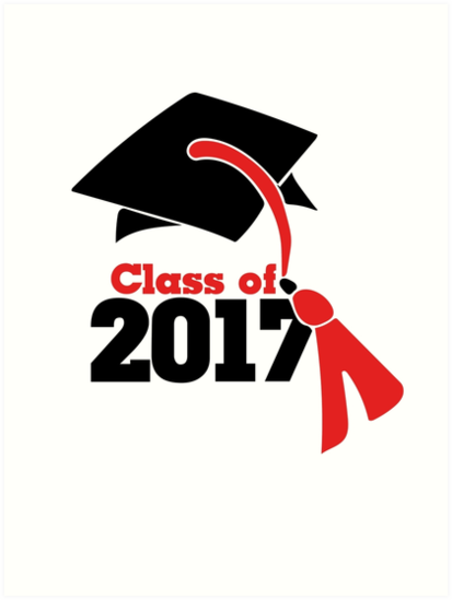 Class Of 2017 In Red And Black Graduation Cap Art Prints