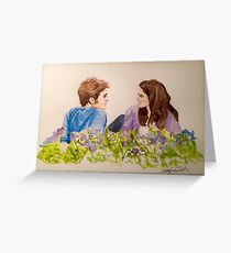 Twilight Scene Watercolor Painting  Greeting Card