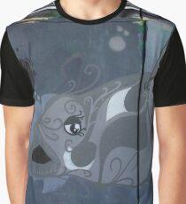 Grey White Graffiti Fish Graphic T-Shirt
