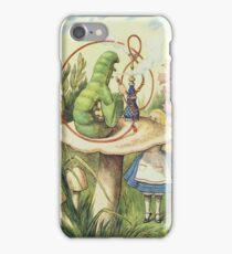 John Tenniel - Alice Meets The Caterpillar, Illustration From  Alice In Wonderland. Girl portrait: cute girl, girly, female, pretty angel, child, beautiful dress, smile, little, kids, baby iPhone Case/Skin