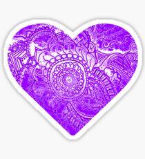 Purple Doodle Heart Sticker