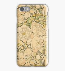 'Peonies' by Alphonse Mucha (Reproduction) iPhone Case/Skin