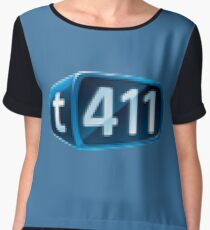 t411 Logo Pixel Chiffon Top