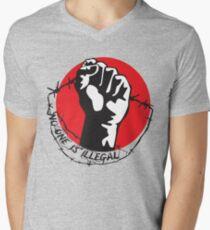 Niemand ist illegal T-Shirt mit V-Ausschnitt für Männer
